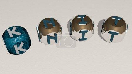Photo pour Tricoter le texte courbé des dés cubes - Illustration 3D pour le fond et le motif - image libre de droit