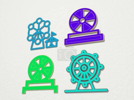 Photo pour Grande roue 4 icônes ensemble - Illustration 3D - image libre de droit