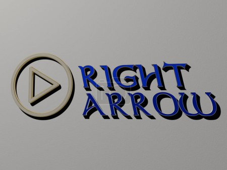 right arrow icon and text on the wall - 3D illustration for background and white