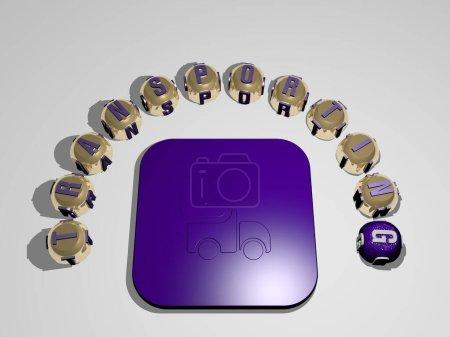 Photo pour TRANSPORT icône 3D entourée par le texte de lettres cubes, illustration 3D pour camion et fret - image libre de droit