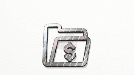 Ordner Bargeld 3D-Symbol an der Wand, 3D-Illustration für Geschäft und Hintergrund
