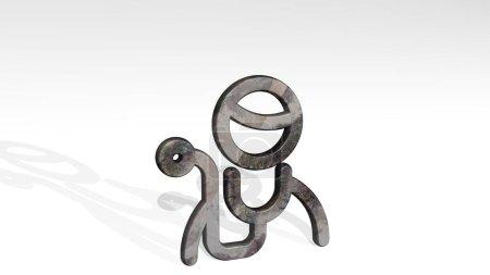 PROFESIONES HOMBRE DOCTOR 3D icono de pie en el suelo, ilustración 3D para el conjunto y las personas