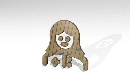 PROFESIONES MUJER ENFERMEDAD Icono 3D de pie en el suelo, ilustración 3D para el conjunto y las personas
