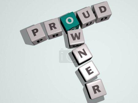 Photo pour PROUD PROWNER mots croisés par des dés cubes lettres, illustration 3D pour fond et belle - image libre de droit