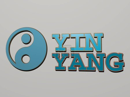 Photo pour Yin yang icône et texte sur le mur, illustration 3D pour symbole et arrière-plan - image libre de droit