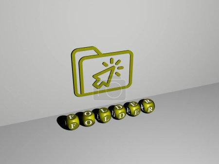 3D-Darstellung von FOLDER mit Icon an der Wand und Text angeordnet durch metallische kubische Buchstaben auf einem Spiegelboden für Konzeptbedeutung und Diashow-Präsentation für Illustration und Geschäft