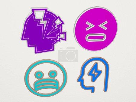 STRESS 4 Icons Set, 3D Illustration für Business und Frau