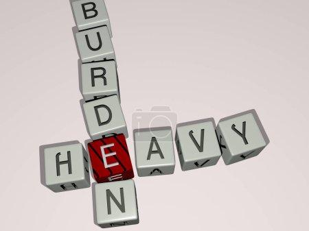 Photo pour BURDEN HEAVY mots croisés par des dés cubes lettres, illustration 3D pour le fond et la construction - image libre de droit