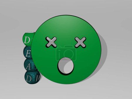 DEAD 3D icon and dice letter text, 3D illustration for background and death