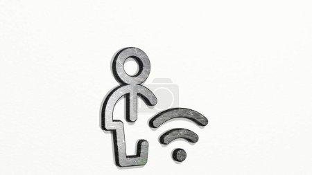 solo hombre acciones wifi icono 3D en la pared, Ilustración 3D