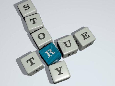 Photo pour Films tv : histoire vraie mots croisés par dés cubes lettres, illustration 3D - image libre de droit