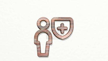 escudo único neutral icono 3D en la pared, ilustración 3D