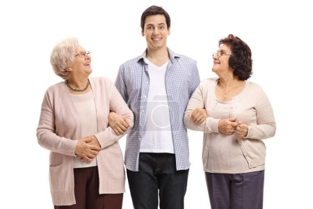 Photo for Young man and two elderly women smiling isolated on white background - Royalty Free Image