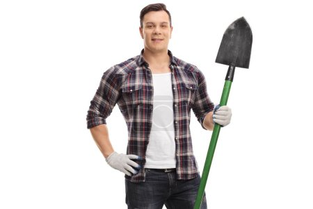 Gardener with a shovel isolated on white background