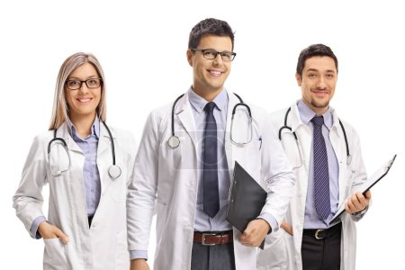 Photo for Team of young doctors posing and smiling at the camera isolated on white background - Royalty Free Image