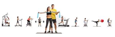 Photo pour Portrait complet d'un instructeur de conditionnement physique masculin avec une jeune femme et des personnes faisant de l'exercice isolé sur fond blanc - image libre de droit