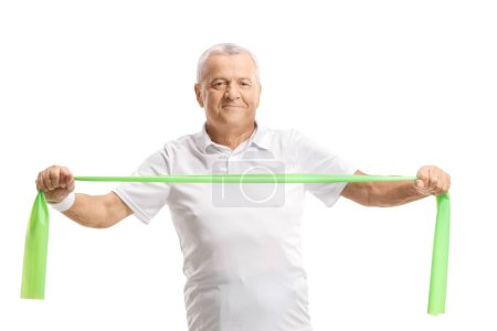 Elderly man exercising with a rubber band