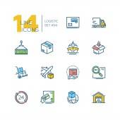 Logistics - colorful thin line design icons set