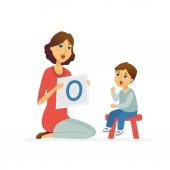 Speech therapist - cartoon people characters illustration