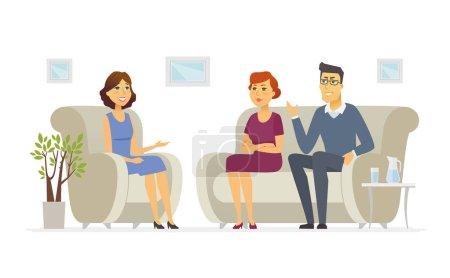 Illustration pour Un couple visitant un psychologue - personnages de dessins animés illustration isolée sur fond blanc. Une image d'une famille parlant à un médecin assis sur un canapé. Jeune conseillère prenant des notes - image libre de droit