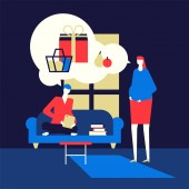 Shopping online - flat design style colorful illustration