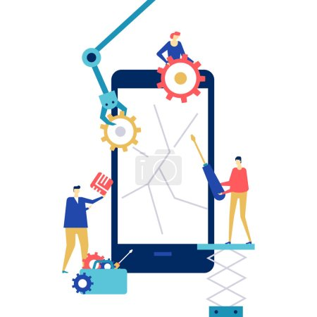 Illustration for Mobile repair service - flat design style colorful illustration on white background. A composition with workers fixing the cracked smartphone screen, images of mechanic arm, chip, gears, SIM card - Royalty Free Image
