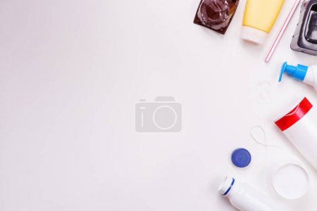 Photo for Selection of plastic garbage for recycling on white background. Concept of recycling - Royalty Free Image