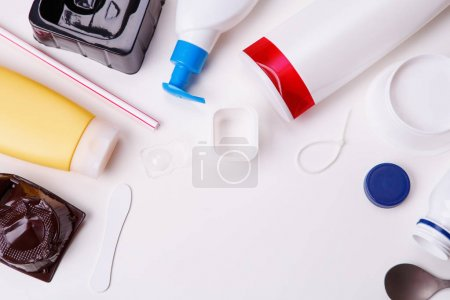 Photo for Selection of plastic garbage for recycling on white background.. Concept of recycling - Royalty Free Image
