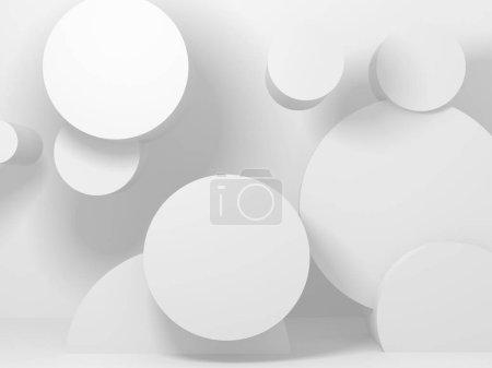 Photo pour Abstrait géométrique art déco fond de maquette en blanc avec ombres - image libre de droit