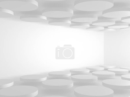 Photo for Abstract geometric art deco mockup background in white with shadows - Royalty Free Image