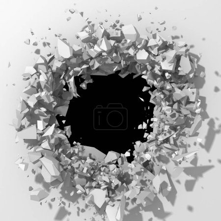 Photo for Cracked hole in white stone wall. - Royalty Free Image