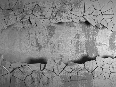 Photo pour Trou fissuré foncé dans le mur de béton. Fond grunge. Illustration de rendu 3D - image libre de droit