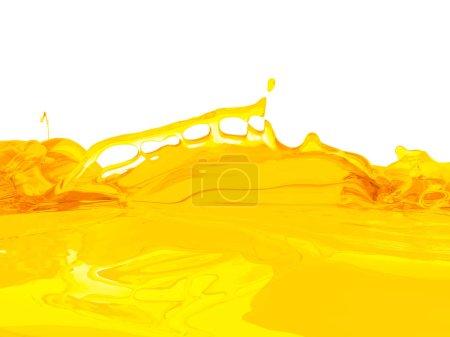 Photo pour Jaune éclaboussure liquide orange isolé sur fond blanc. Illustration de rendu 3D - image libre de droit
