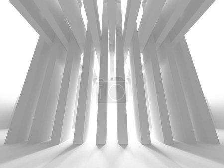White Architecture Construction Modern Interior Background. 3d Render Illustration