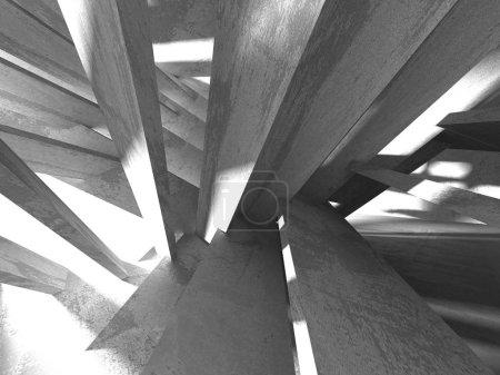 Photo pour Sous-sol sombre chambre vide intérieur. Des murs en béton. Arrière plan architectural. Illustration de rendu 3D - image libre de droit