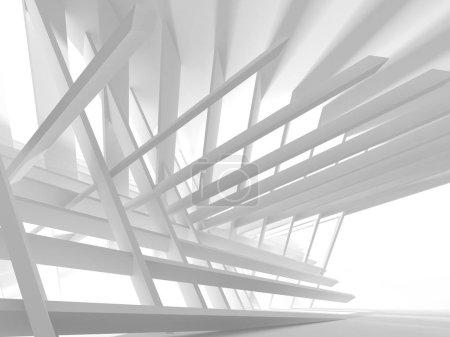 Architecture blanche Construction Moderne Intérieur Arrière-plan. Illustration de rendu 3d