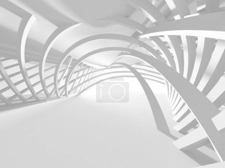 3d illustration abstract modern white render architecture background.