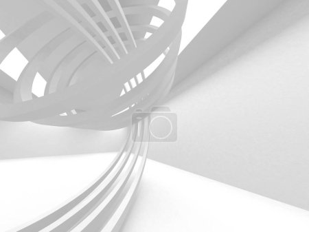 Photo for White Architecture Construction Modern Interior Background. 3d Render Illustration - Royalty Free Image