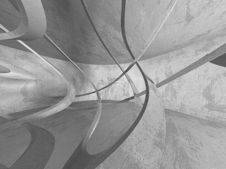 Foto de Oscuro cuarto vacío concreto. Diseño de la arquitectura moderna. Fondo con textura urbana. Ilustración de render 3D - Imagen libre de derechos