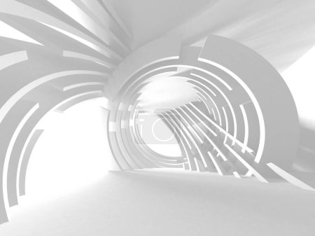 Photo for Futuristic White Architecture Design Background. 3d Render Illustration - Royalty Free Image