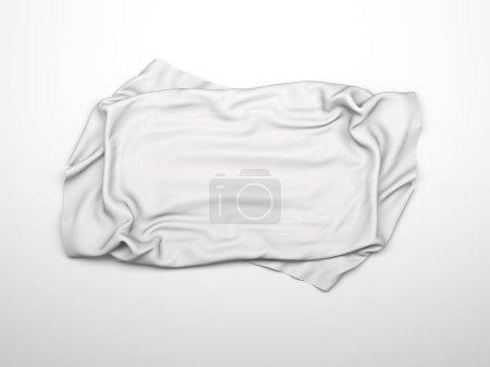 Photo pour Nappe élégante en soie blanche. Exposition commerciale. Élément de conception pour arrière-plan. Illustration de rendu 3D - image libre de droit