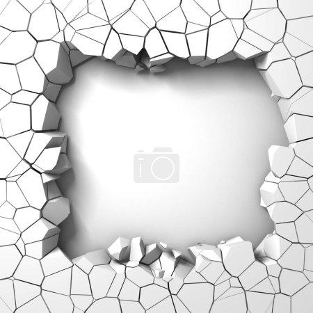 Photo pour Destruction sombre trou fissuré dans le mur de pierre blanche. Illustration de rendu 3D - image libre de droit