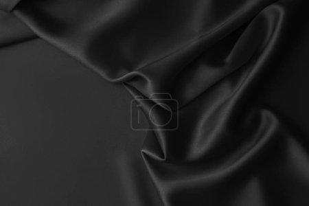 Photo pour Tissu de luxe noir ondulé ridée draperie de soie brillant. Résumé historique - image libre de droit