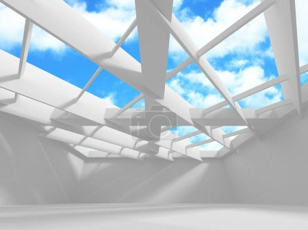 Futuristic White Architecture Design on Cloudy Sky Background