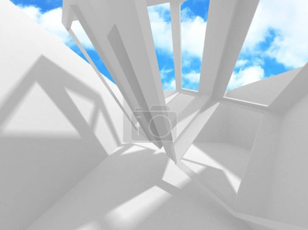 Photo pour Design futuriste d'architecture blanche sur fond de ciel nuageux. Concept de construction abstrait. Illustration de rendu 3d - image libre de droit
