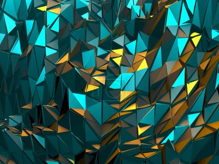 Photo for Triangle Poligon Colorful Abstract futuristic Background. 3d Render - Royalty Free Image