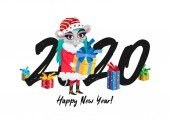 Cute little mouse - a girl in a Santa costume Big numbers 2020