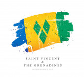 Flag of Saint Vincent and the Grenadines Vector illustration on