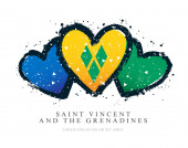 Flag of Saint Vincent and the Grenadines in the form of three he