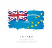 Flag of Tuvalu Brush strokes are drawn by hand Independence Da